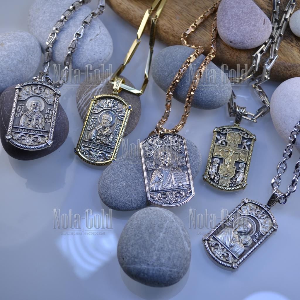 Жетоны православные из золота и серебра с ликами святых и молитвами на обороте