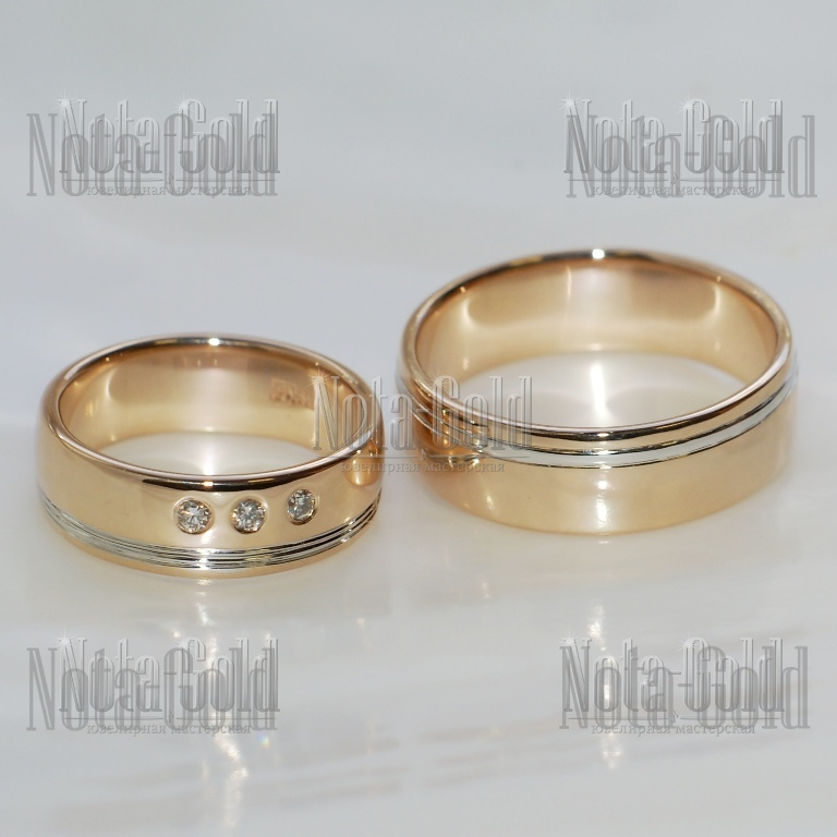 Обручальные кольца двухцветные