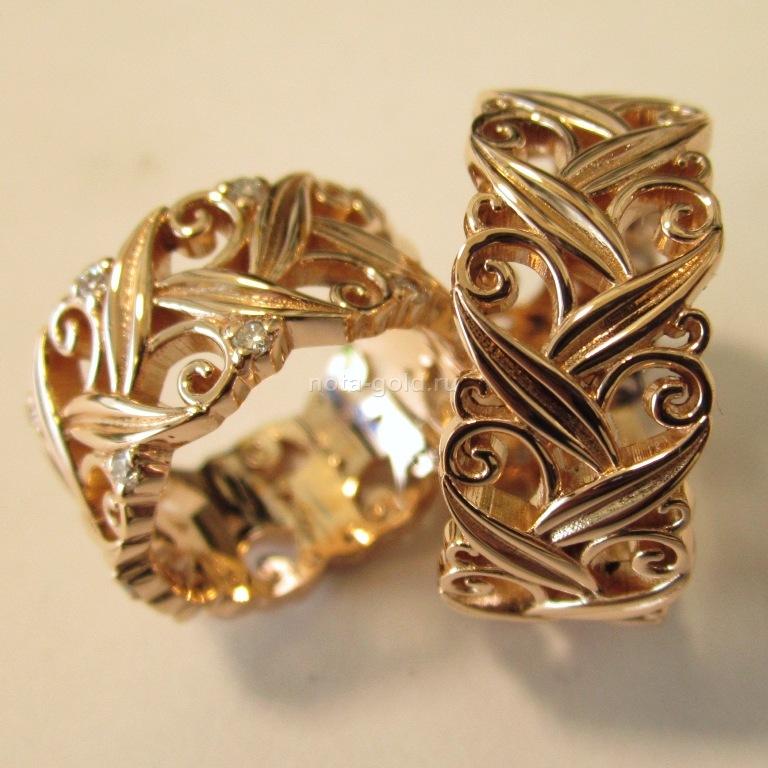 Обручальные кольца с узором на заказ