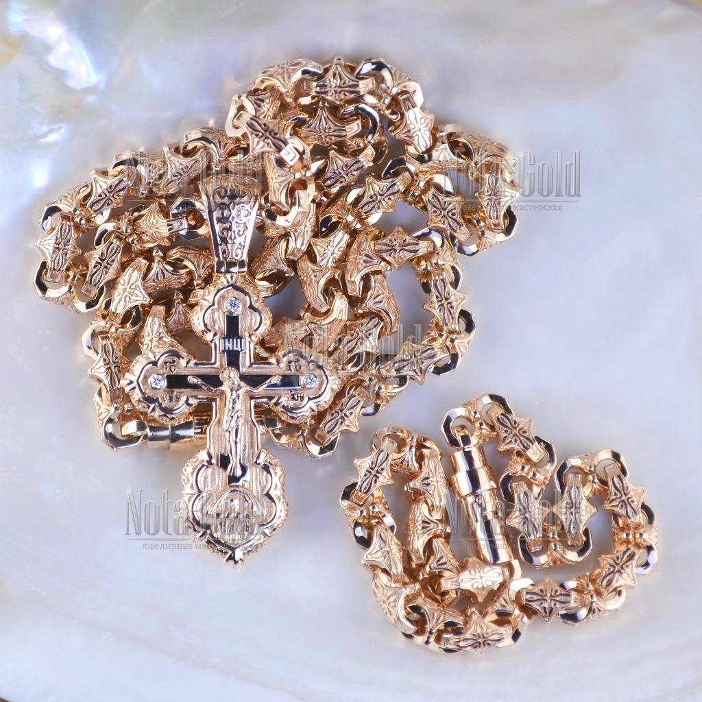 Эксклюзивный мужской комплект - крест из золота с цепочкой и браслетом  плетение Краб Большой (Вес  244,5 гр.) 6c8845dd2f8